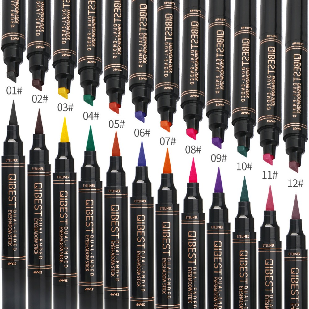 1Pc Liquid Eyeliner Stamp Pen Matte Black Colorful Lazy Eyes Make Up Waterproof Quick Dry Blue Green Red Yellow Eye Liner Pencil