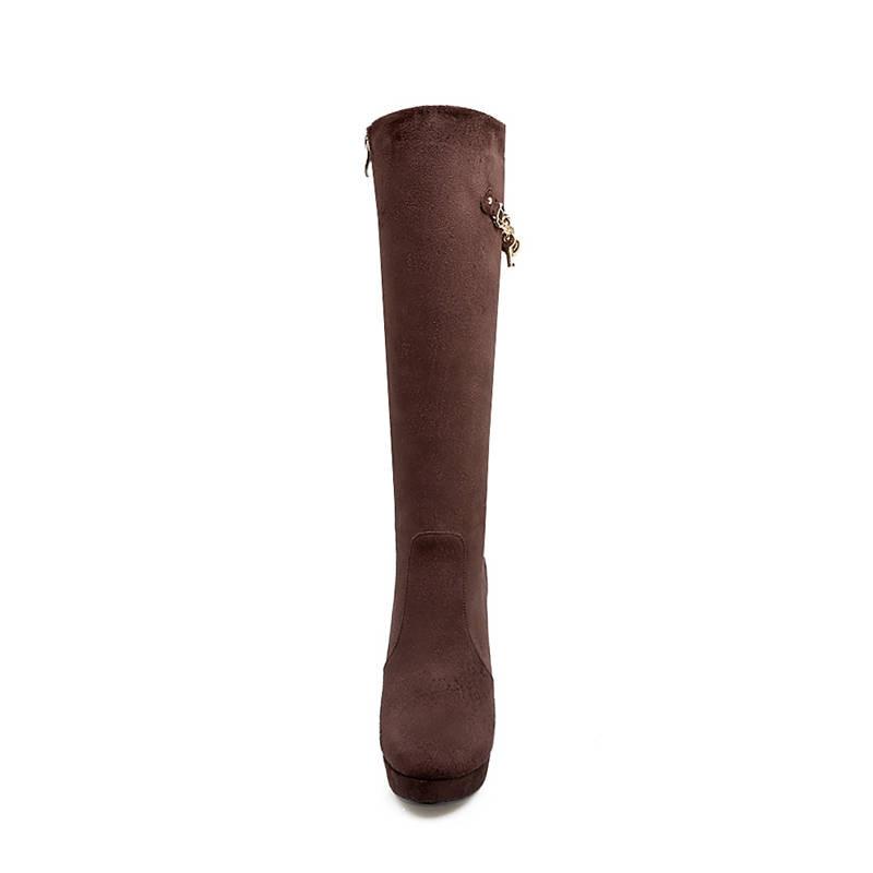 wine Brown dark 2018 Bout Bottes Morazora Noir Automne Hiver Chaussures Haute Femmes forme Genou Mode Red Talons Plate Nouvelle Arrivée Rond HdxqTnTUSw