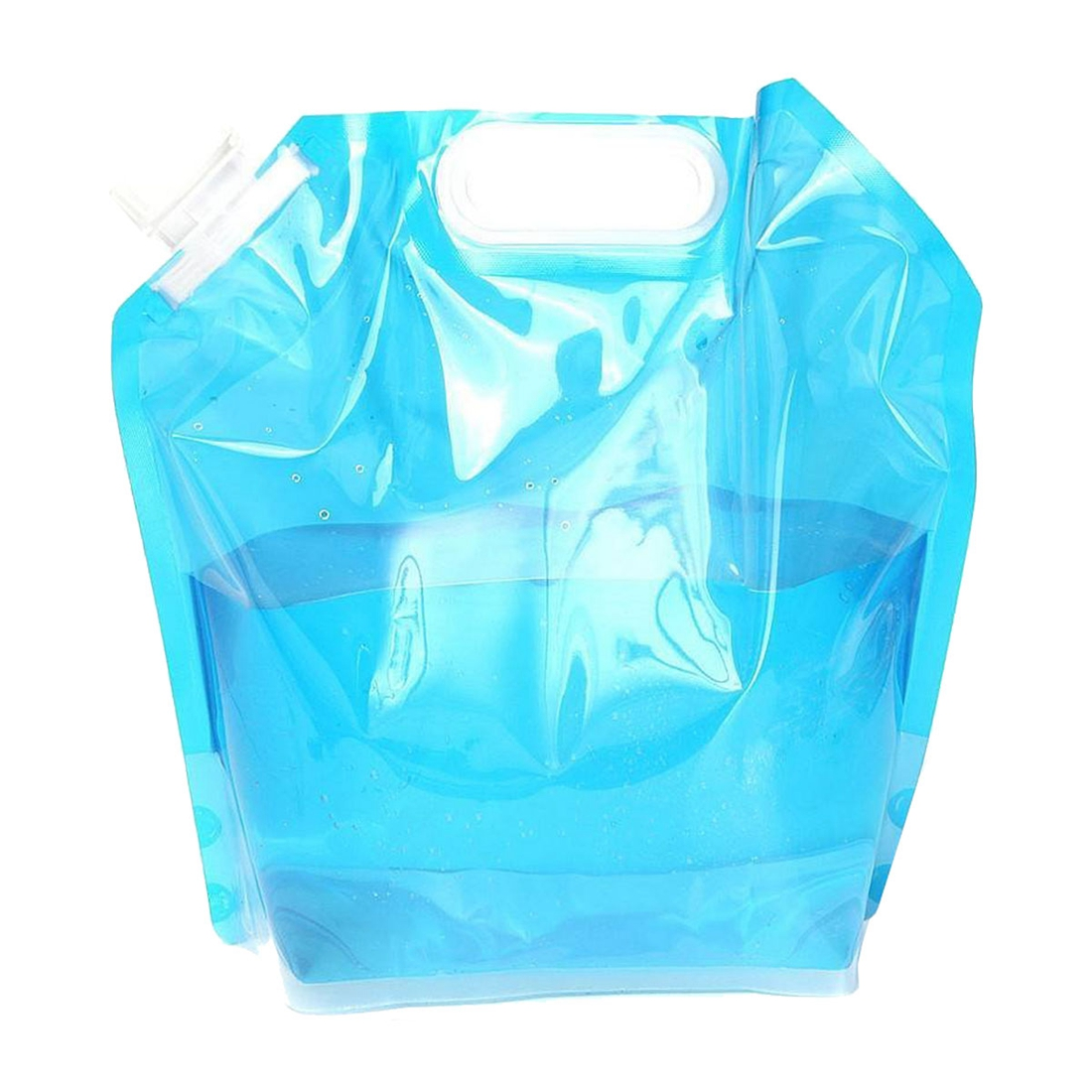 Foldable Water Canister 5L Canister Camping Outdoor Folding Canister Drinking Water transparent blue