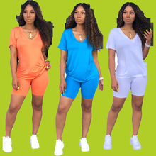 Simple sportswear Vneck short sleeved regular tshirt with straight tight shorts solid color knitted 2piece set H6073 three