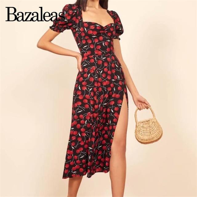 80b73e7945c3c Bazaleas Beach vestidos Holiday Split midi Dress Chic Navy Cherry Print  Women Dresses Short Sleeve drop shipping