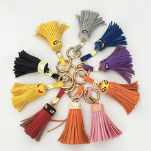 Creative Fringed Genuine Leather Pendant Crystal Button Bag Fittings Women Handbag Keyring Crystal Bag Accessory
