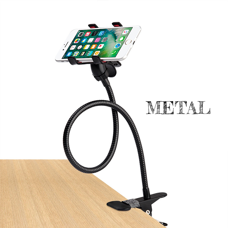 Metal Strong Lazy Holder Long Arm Flexible Bed Lazy Bracket Desk Phone Holder For IPhone Desktop Mount Stand  Cell Phone Holder