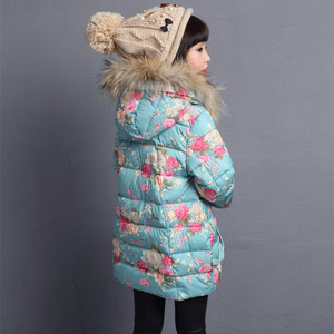 Image 3 - Winter Thicken Warm Kids Coat Children Outerwear Cotton Filler Heavyweight Girls Jackets Floral Printing Outfits 3 12 Years Old