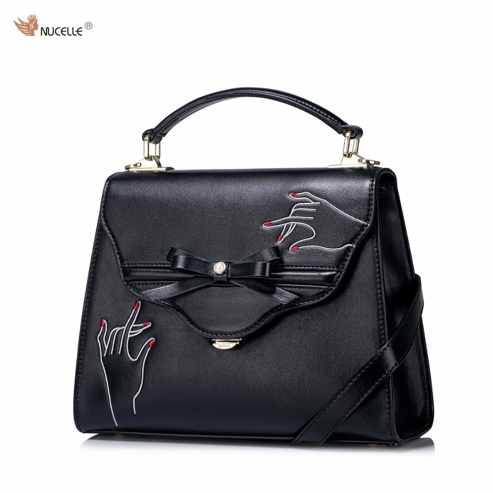 NUCELLE Brand New Design Creative Embroidery Bow Women's Fashion PU Leather Lady Handbag Shoulder Bag Girls Purses 2016 summer national ethnic style embroidery bohemia design tassel beads lady s handbag meessenger bohemian shoulder bag