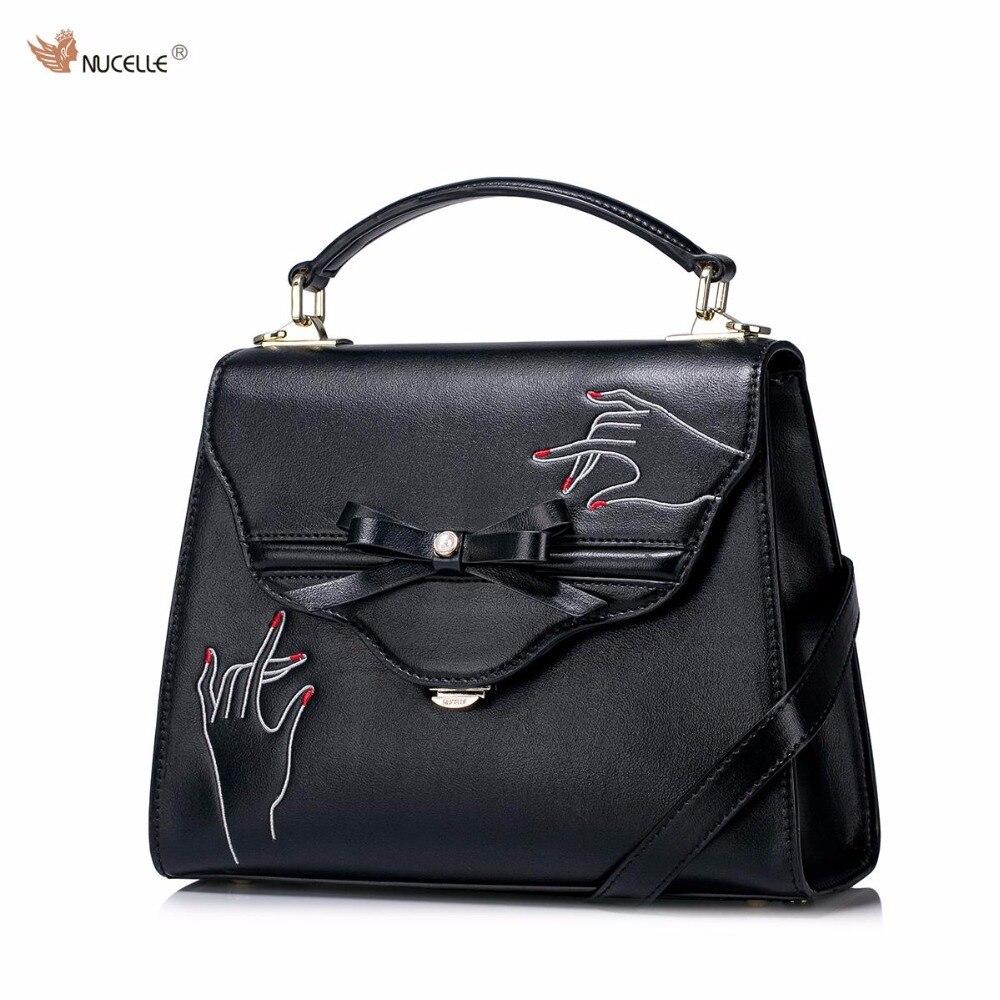 NUCELLE Brand New Design Creative Embroidery Bow Women's Fashion PU Leather Lady Handbag Shoulder Bag Girls Purses