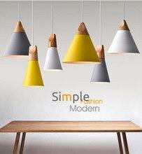 현대 나무 펜 던 트 조명 lamparas 다채로운 알루미늄 램프 그늘 luminaire 펜 던 트 램프 다이닝 룸/레스토랑/바/커피