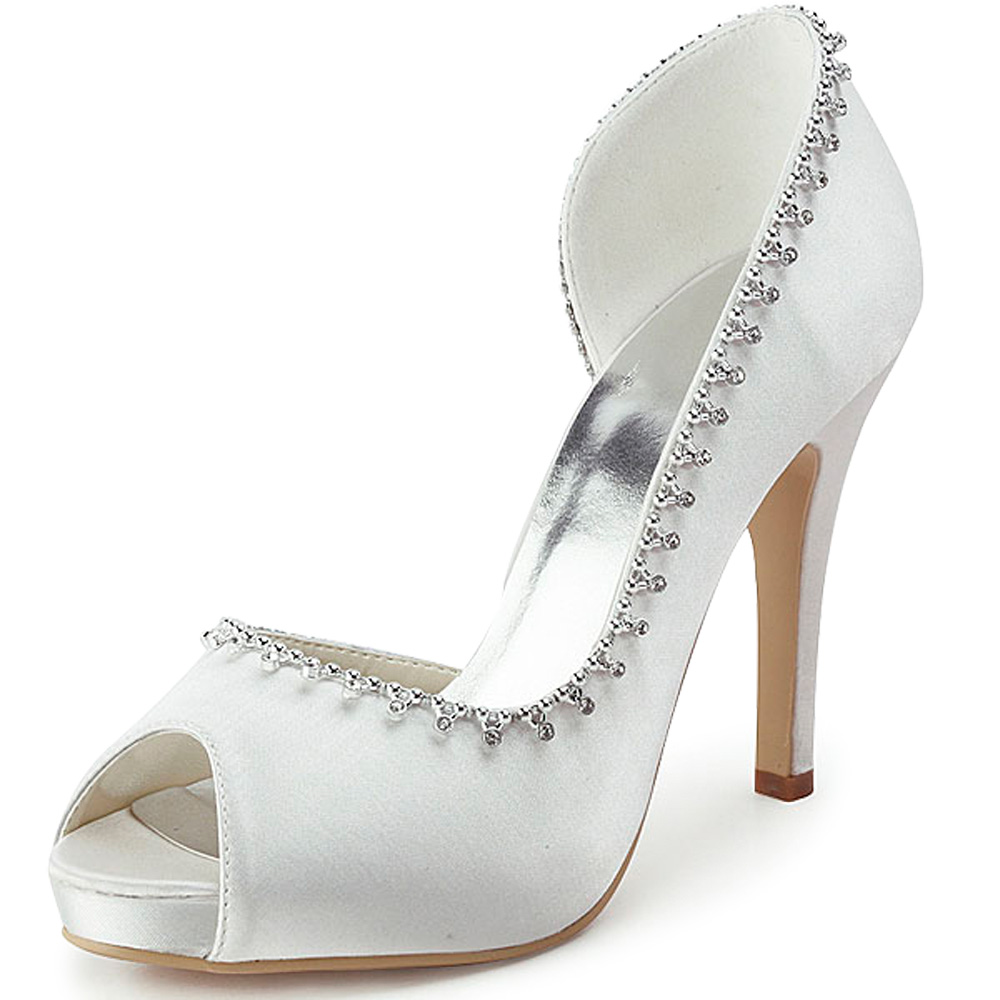 EP11082-IP Women Bride Shoes White Wedding Prom Party Pumps Peep Toe High Heel Sandals Platforms Rhinestones Satin Bridal Shoes