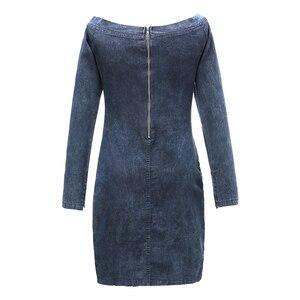 Image 5 - Conmoto Sexy Off Shoulder Denim Dress Women 2019 Winter Long Sleeves Casual  Short Dress Autumn Slim Mini Dress Bodycon Vestidos
