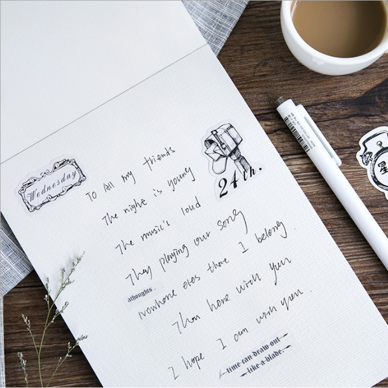 Купить с кэшбэком 45 Pcs/box black and white Paper Decoration DIY Scrapbook Notebook Album seal Sticker Stationery Kawaii Girl Sticker stationery