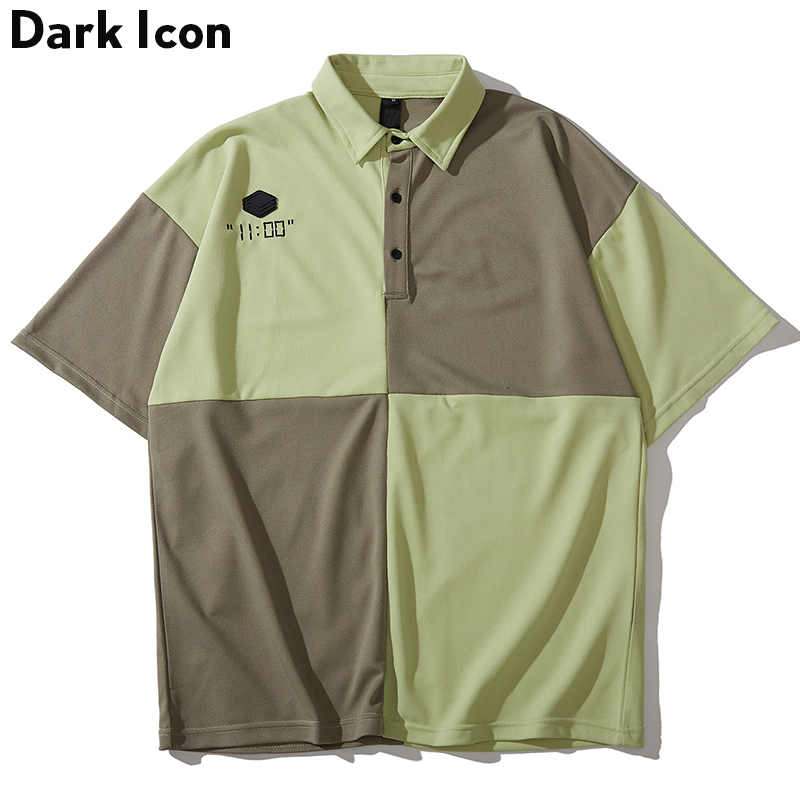 Dark Icon Color Contrast   Polo   Shirts Men Turn-down Collar Short Sleeved Men's Shirts Embroidery Street Shirts Man Top