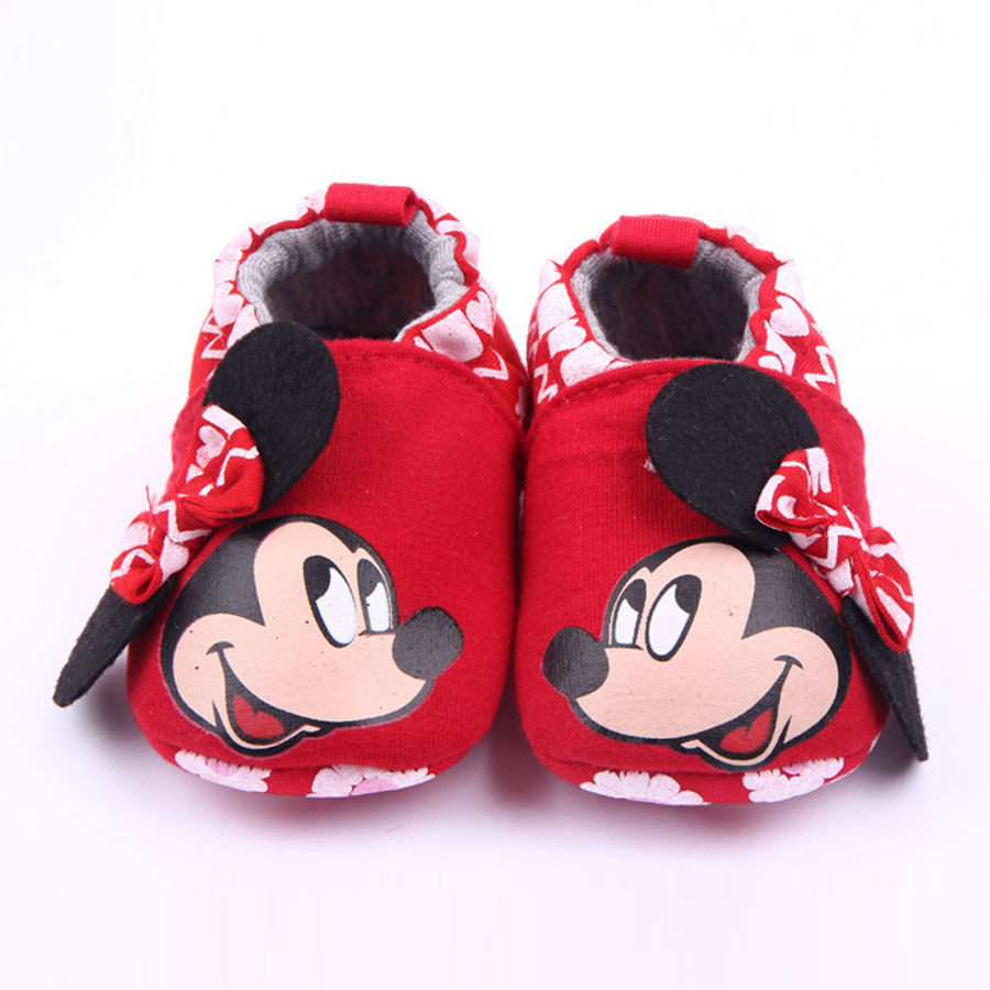 Winter Baby Girl Shoes Cartoon Minnie Loafers Newborn Crib Shoes Infant Toddler Slipper Unisex Casual Prewalker