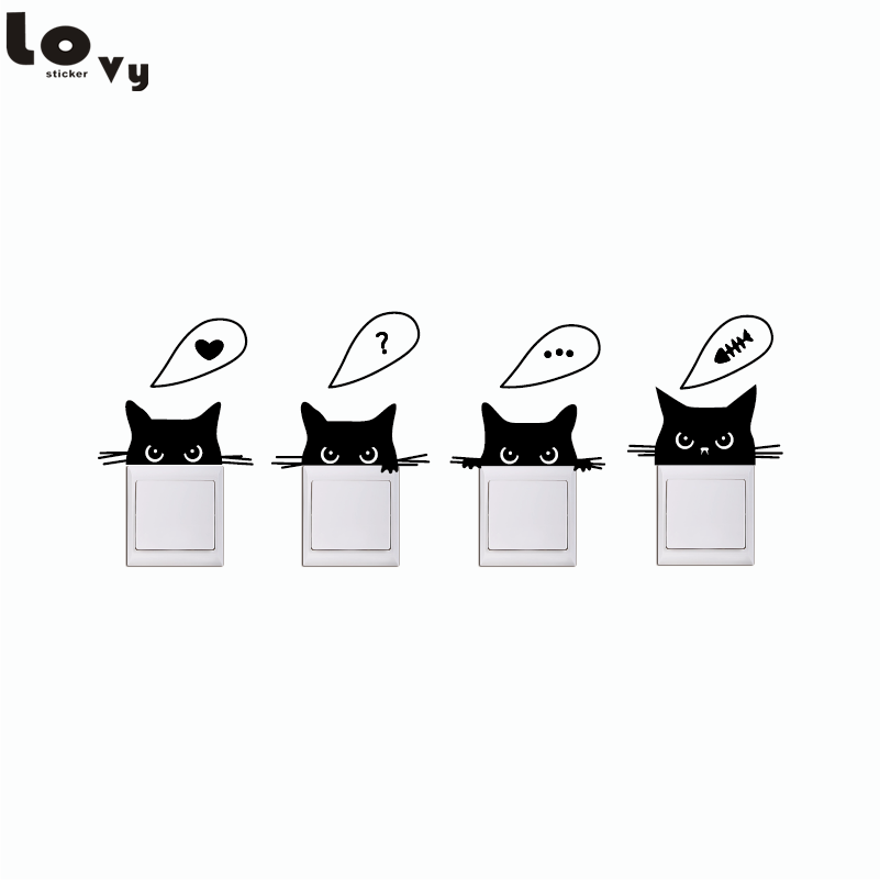 Removable wall stickers Switch stickers creative stickers socket cartoon bedroom wall sticker home decor four kittens a set