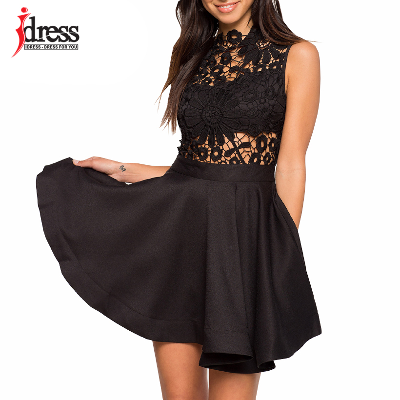 44e7db742e IDress 2018 New Design Vintage Floral Lace Pleated Dress Women Sleeveless  O-Neck Cute Party