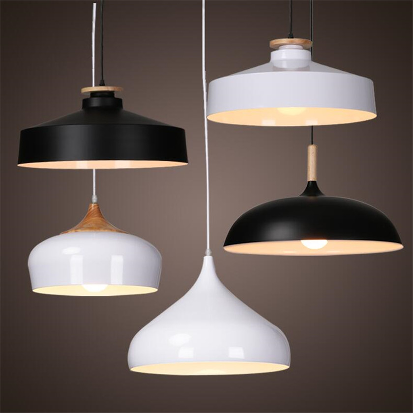 Nordic Industrial Lighting Loft led Pendant Lights Wood Aluminum Lampshade Lamparas Dining Room Pendant Lamp E27 Light Fixtures frled pendant light loft bar nordic classic black bulb wire lamp cage diy lampshade industrial guard shade lamparas