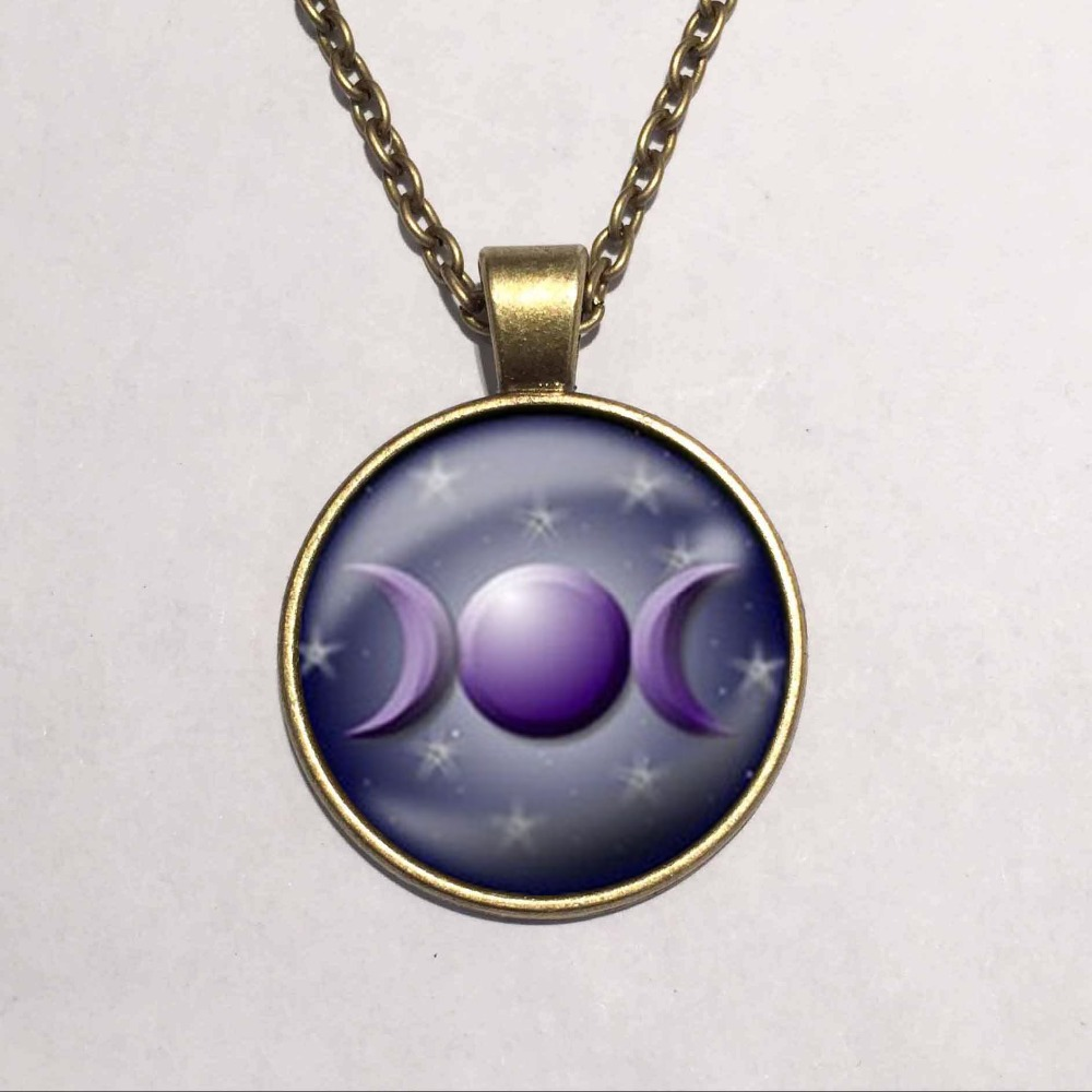 Wholesale art glass cabochon necklace triple moon necklace triple wholesale art glass cabochon necklace triple moon necklace triple moon goddess pendant glass dome pendant in pendant necklaces from jewelry accessories on mozeypictures Image collections