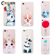 CASEIER Cute Cat Dog Case For iPhone 7 6 6s Plus 5 5s SE Soft TPU Ultra-thin Lovely Animal Cover Silicone phone Shell