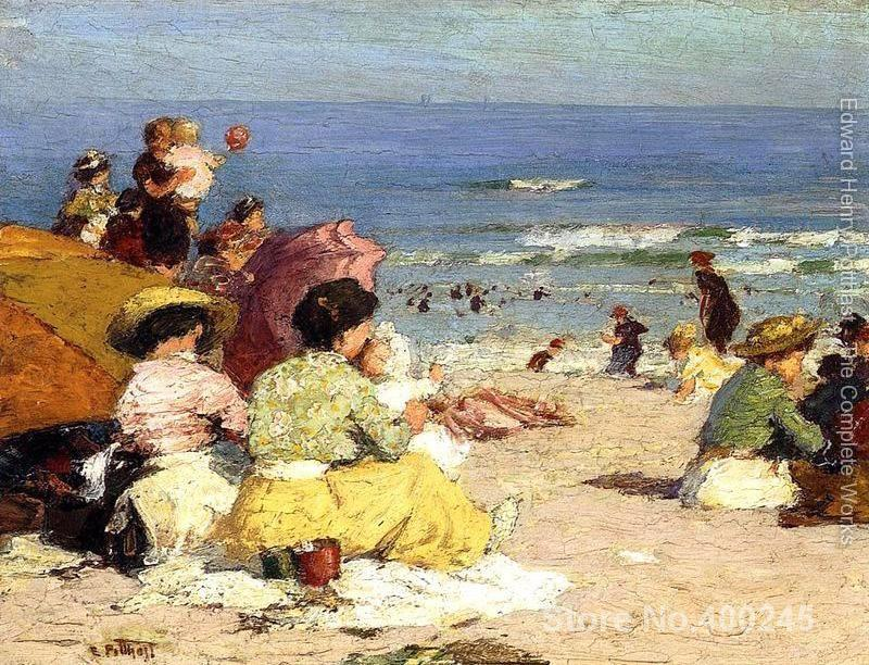 Art oil Painting Beach Scene by Edward Henry Potthast High quality Handmade