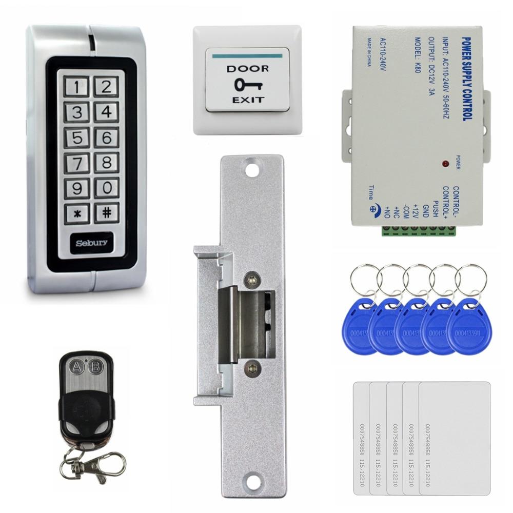 DIYSECUR 125KHz RFID Waterproof No Touch Door Access Control System Kit + Strike Lock + Remote Control