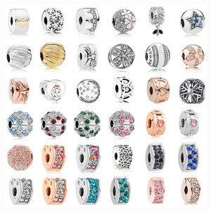 1pc cor prata margarida coração arco coroa clipe de segurança contas caber pandora encantos pulseiras jóias diy feminino jóias acessórios w002