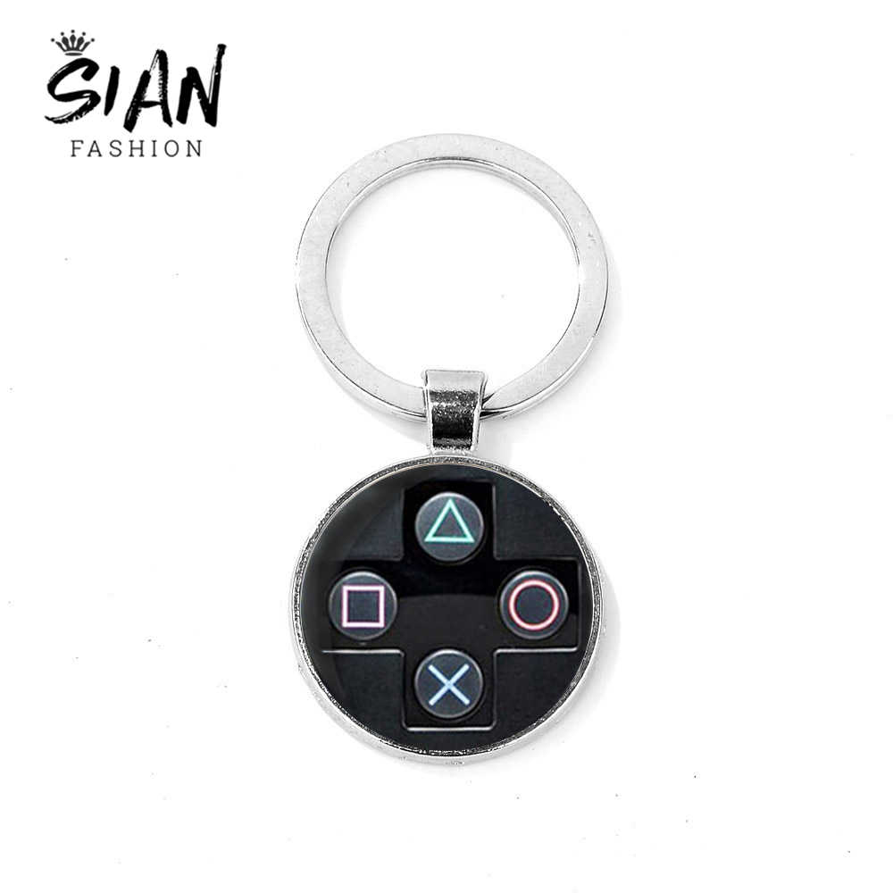 SIAN Creative Video Game Controller Pattern Keychain Handmade Round Glass Key Ring Gift for Boys Bag Charm Llaveros Para Hombre