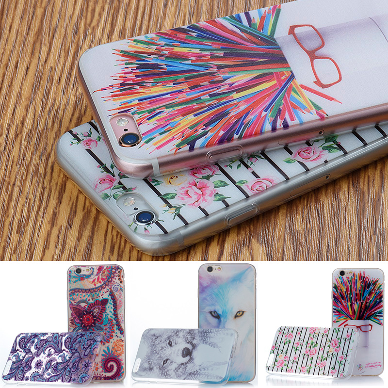 Ultra Thin TPU Case For IPhone 4 4S 5 5S 6 6S 7 Plus Animal Flower