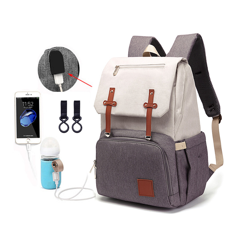 NEW HOT USB Diaper Bag Large Capacity Baby Nappy Bag Mummy Daddy Backpack Waterproof Casual Rechargeable