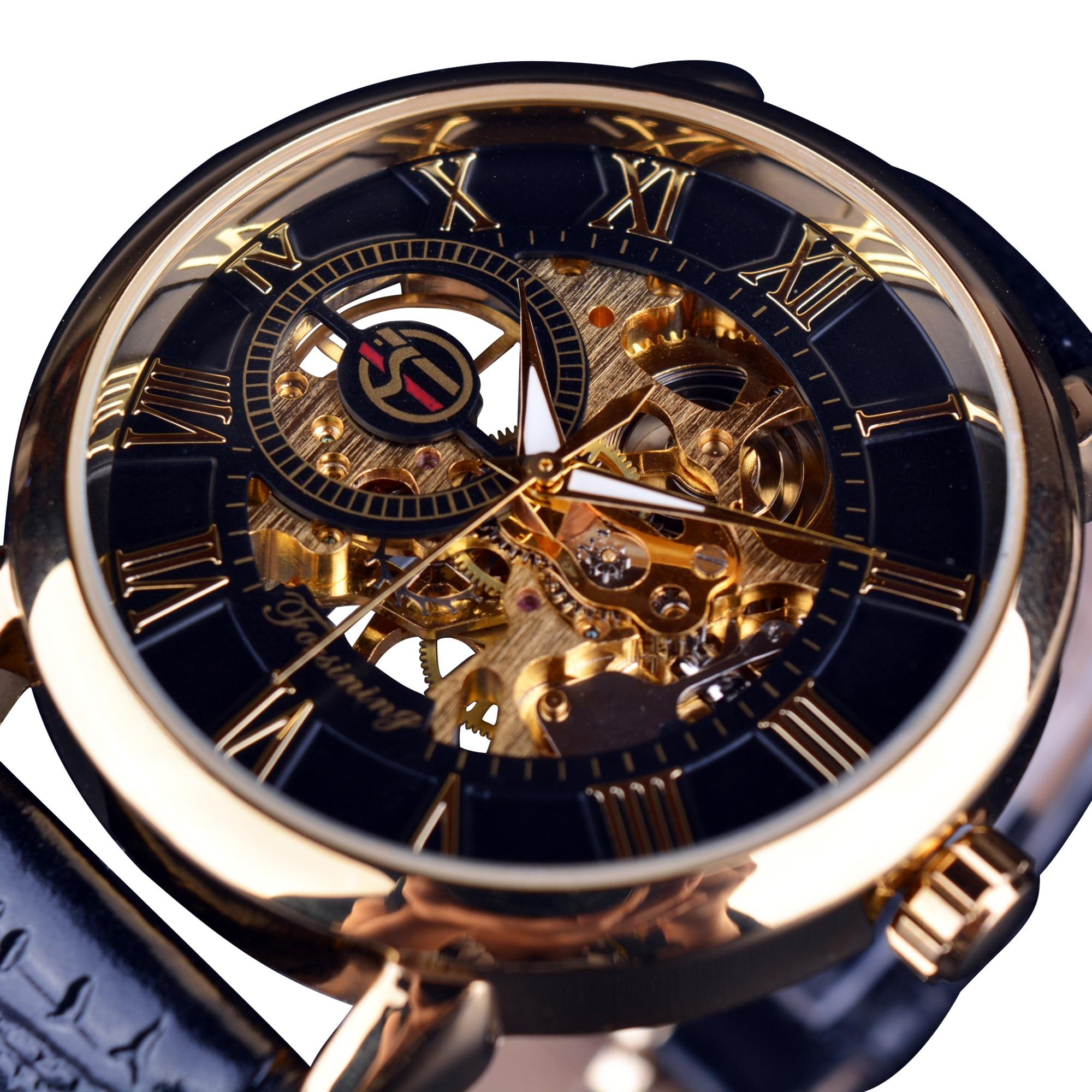 1878a75f667 Forsining 3d Logo Design Hollow Engraving Black Gold Case Leather Skeleton  Mechanical Watches Men Luxury Brand Heren Horloge