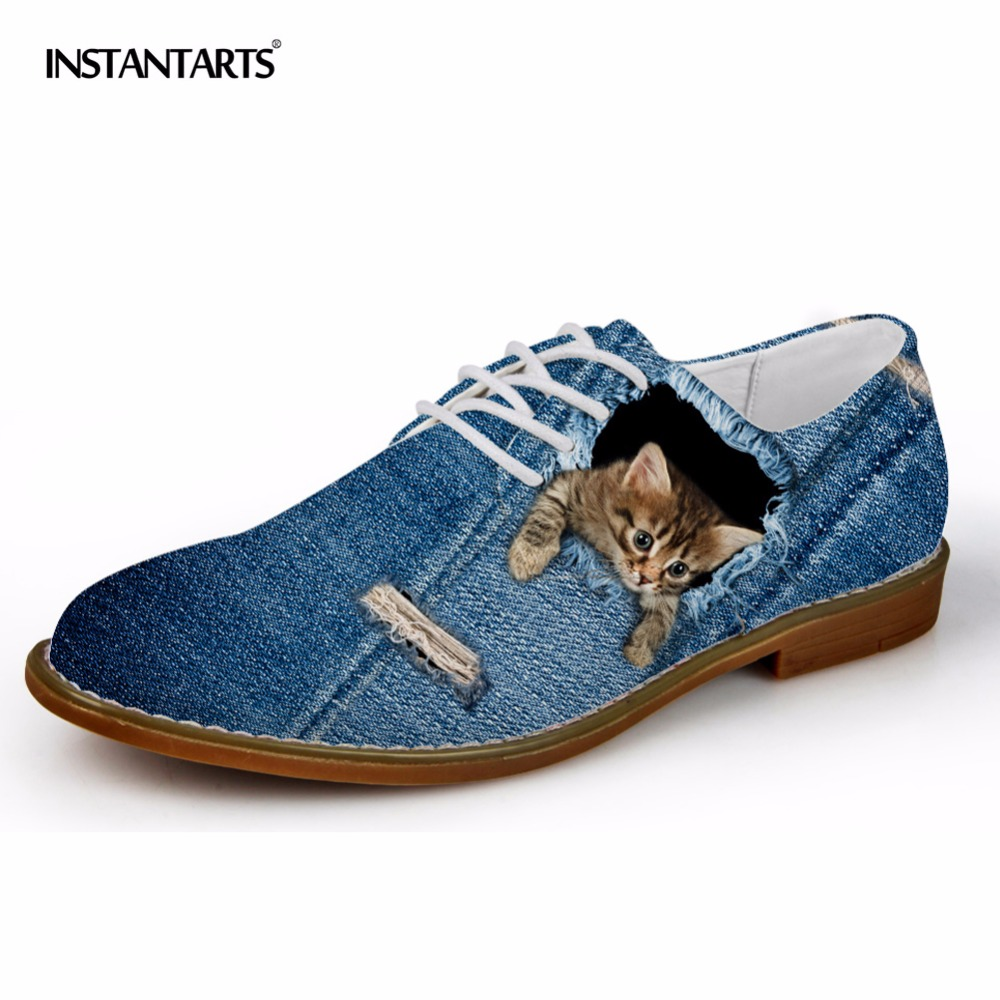 INSTANTARTS 2018 Men's Casual Leather Shoes Blue Denim Pattern Men Lace-up Oxfords Breathable Male 3D Animal Wolf Cat Flats upuper 2018 oxfords men spring autumn new british lace up leather male casual shoes fashion mocassins breathable men s flats