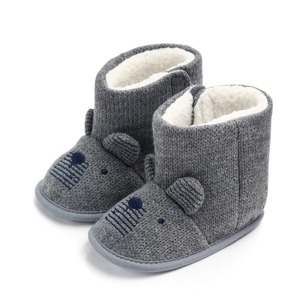 Winter Warm Plush Baby Girls Snow Boots Knitting Shoes Baby Toddler Shoes Indoor Snow Boots Girls Baby Kids Boots