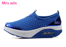 Summer Shoes Women running shoes Walking Flats Height Increasing Women sneakers air Breathable Print Swing Wedges