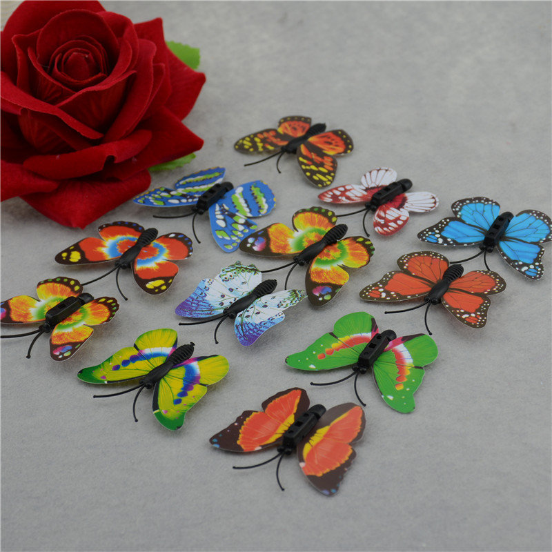 100 / lot Imitation Butterfly 4 cm PVC home decor wall stickers decals home crafts educational toys for children gift