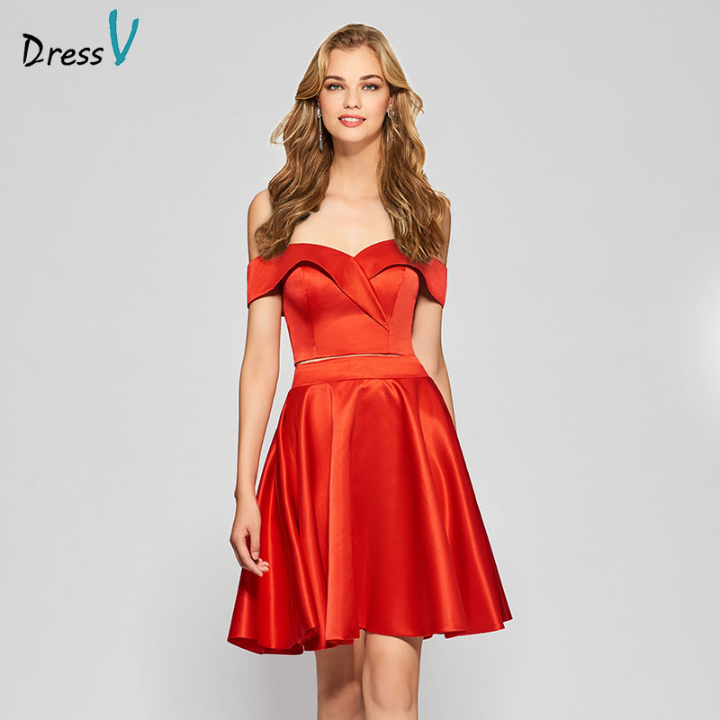 Dressv red elegant homecoming dress two pieces a line off the shoulder short mini zipper up homecoming&graduation dresses