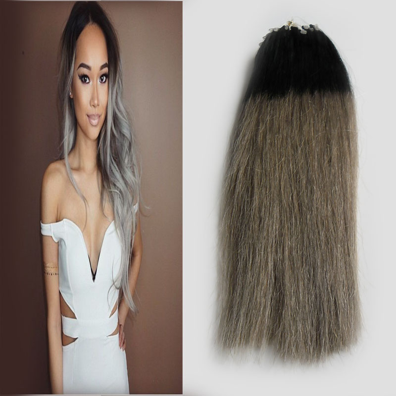 Micro Link Hair Extensions Human 50s 7a Two Tone Silver Ombre Micro Bead Hair Extensions 50g Grey Micro Loop Hair Extensions On Aliexpress