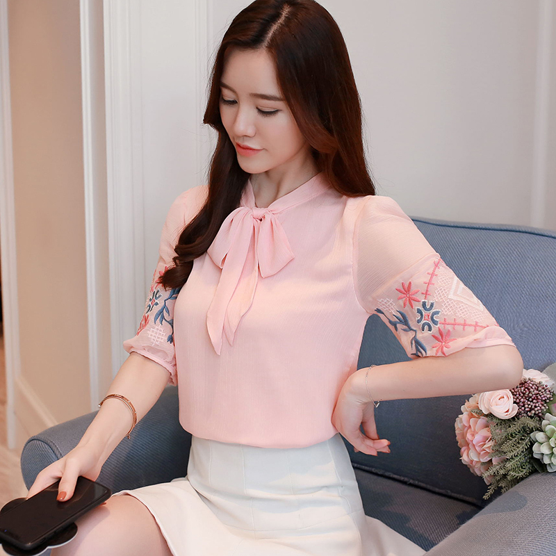 2018 Bordado Moda Floral Grande Camisa Chifón Ropa 0037 Collar Mujer Blusa Pink Verano De Lazo Nueva 30 blanco Mujeres Talla Tops negro 55rpq6Aw