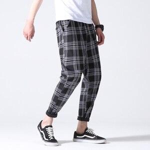 Image 3 - Drop Shipping Autumn Men Plaid Pants Casual Trousers Man Cotton Slim Fit Men Skinny Grid Joggers LBZ09