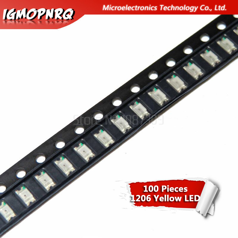 100pcs Yellow 1206 3216 SMD LED Diodes Light