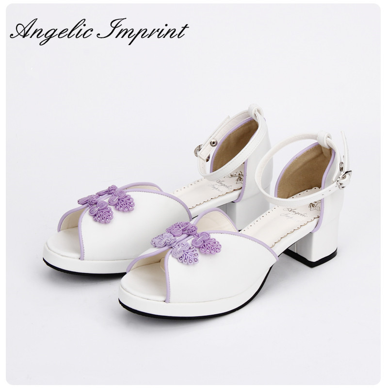 Classical Chinese Style Lolita Cosplay Block Heel Summer Sandals Shoes WHITE юбка blue shells cosplay pettiskirt tutu lolita