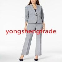 Новое поступление серый Для женщин костюм Индивидуальный заказ Для женщин Формальные Повседневная обувь офисные брюки костюм 141