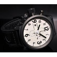 цена на 50mm PARNIS White dial Date PVD Case Chronograph Quartz movement men's Wristwatch
