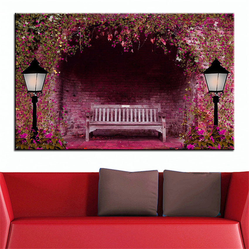 Large Size Printing Oil Painting Romantic Bench Wall Decor Art Picture For Living Room