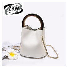 ZKW Genuine Leather Women's Handbag First Layer Of Cowhide Women's Small Bag Chain Circular Bucket Bag