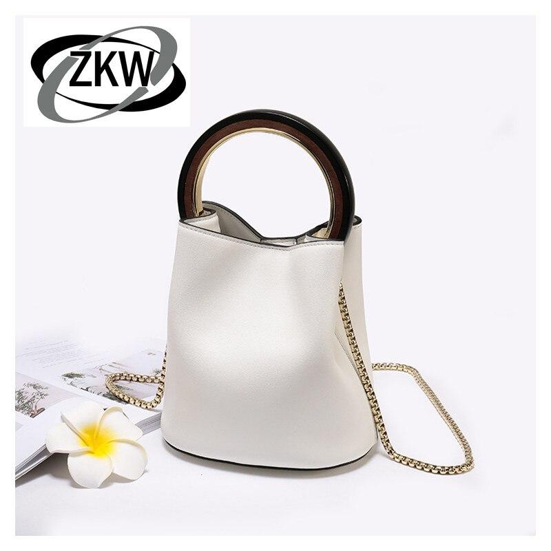 ZKW sac à main femme en cuir véritable première couche de peau de vache souple madame petit sac mode chaîne sac seau circulaire
