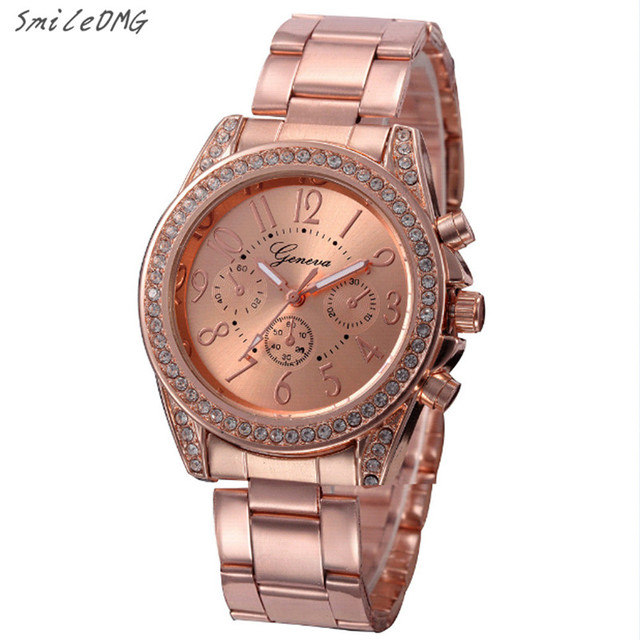 Fashion Ladies Quartz Bracelet Watch Rose Gold Female Wristwatch Luxury Montre F