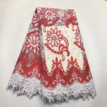 2019 Latest Red African Tulle Lace High Quality French lace fabric For nigerian Wedding Dress cord Lace fabric 170