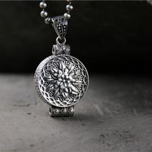 S925 Sterling Silver Retro Thai Silver Buddha Lotus Kwu Box Pendant For Women Fine Jewelry Necklace 9.1G 19*29mm