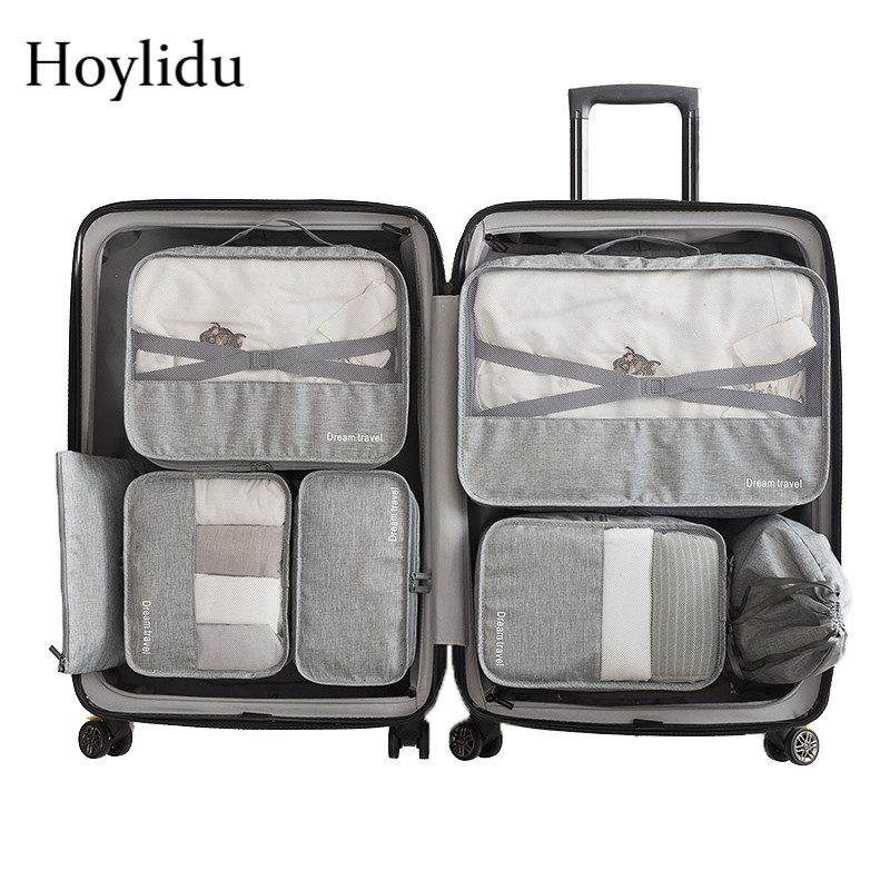 7 Pcs/Set Travel Accessories Packing Organizers Unisex Large Capacity Luggage Clothing Bag Underwear Waterproof Pouch Mesh Packs