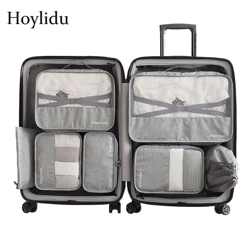 7 pièces/ensemble accessoires de voyage organisateurs d'emballage unisexe grande capacité bagages vêtements sac sous-vêtements pochette étanche maille Packs