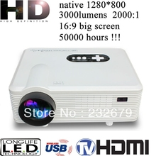 Newest portable 3000lumens 150W led lamp 1280x800pixels real 720p HD multimedia projector,cheap 1080p home theatre projector