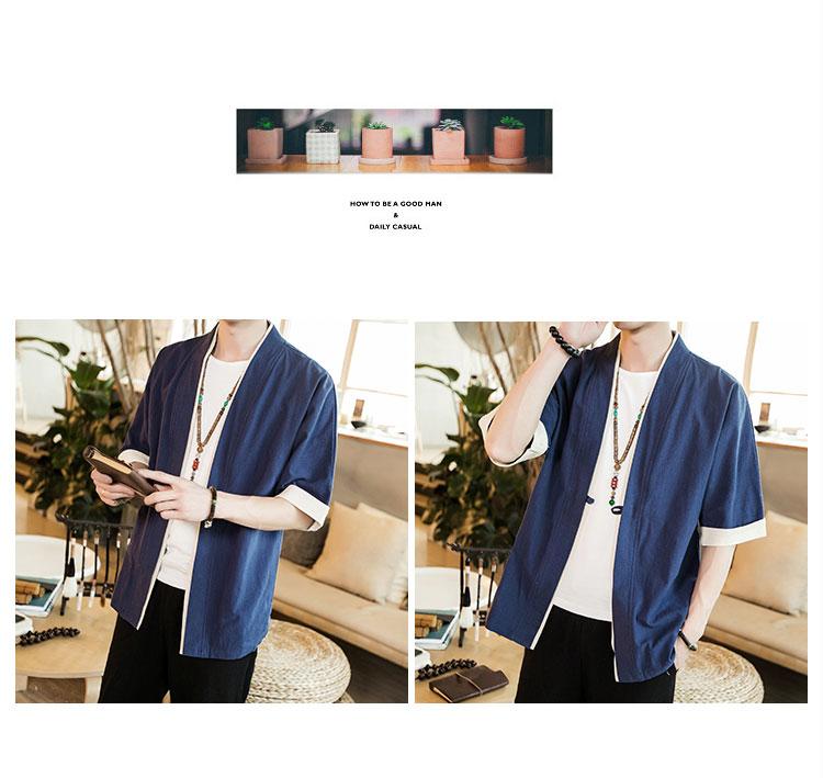 HTB1Arl1gQ7mBKNjSZFyq6zydFXat 2019 Men Cotton Linen Jacket China Style Kongfu Coat Male Loose Kimono Cardigan Overcoat Open Stitch Coat Mens Windbreaker 5XL